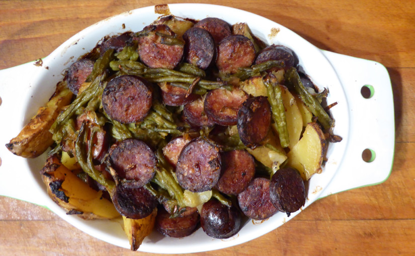 Sausage with red potatoes and green beans