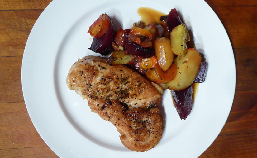 Chicken breast with beetroot
