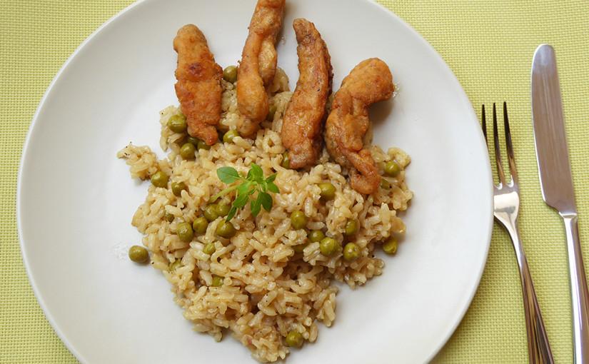 Hráškové rizoto skuřecími hranolky | Italská inspirace