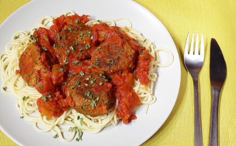 Špagety stuňákovými kuličkami