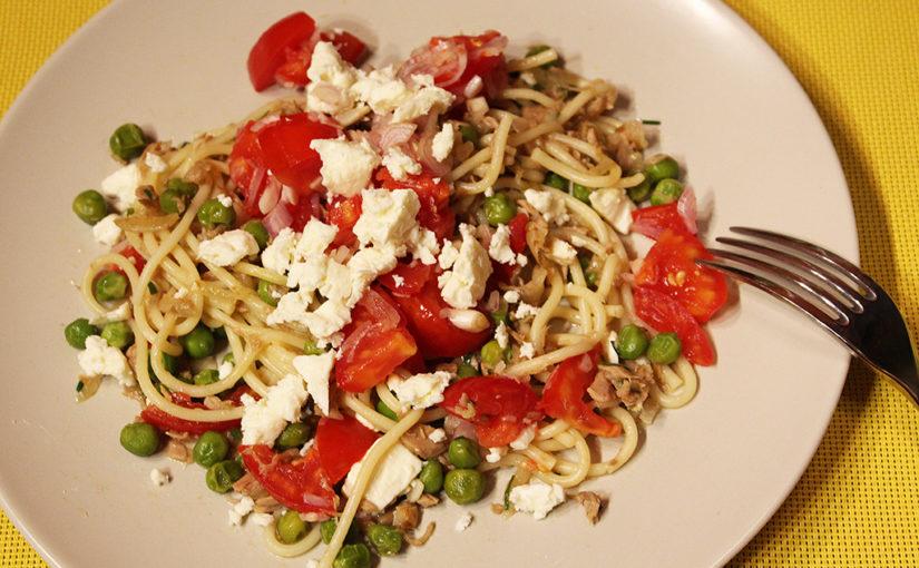 Špagety with tuňák, peas and fresh tomato salsa | Great fast food,cs