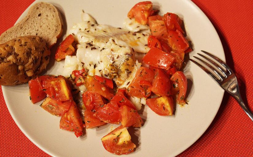 Rychlá ryba spikantními rajčaty | Desetiminutová večeře