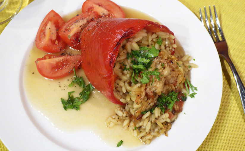 Great peppers stuffed with orzo | vegetarian versions