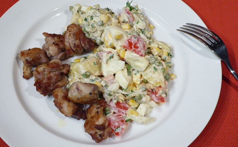 Chicken with potato salad Tartar | Experiment in the kitchen