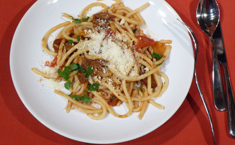 Bugatini sklobásou apaprikou | Varianta místo špaget