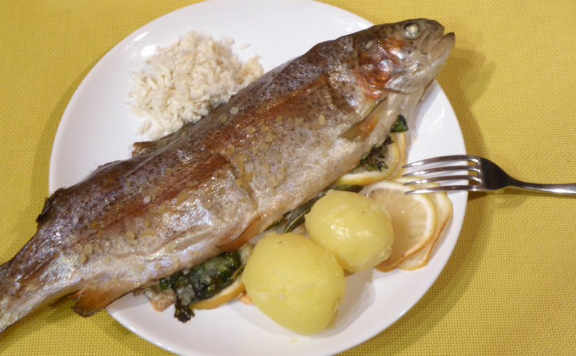 Simply baked trout with herbs,,cs,Rainbow trout, I actually had the kitchen for the first time,,cs,Even after baking,,cs,I struggled a bit with the pan until I finally chose Sheet,,cs,I had fish and what to do,,cs,We wash it and dry it,,sk,Add the lemon herbs,,cs,which zastříkneme fine olive oil and little salt,,cs,Then we pull the temperature at about,,cs,C and still leave,,cs,I got here a little logistical problem,,sk,But we're not at the front desk in Lany,,cs,we have to make do with ordinary round dish,,cs,Serve with potatoes finely omaštěným piece of butter,,cs,Cucumber salad with white onions,,cs,so i just need to,,cs,We need to actually just cucumber and onion,,cs