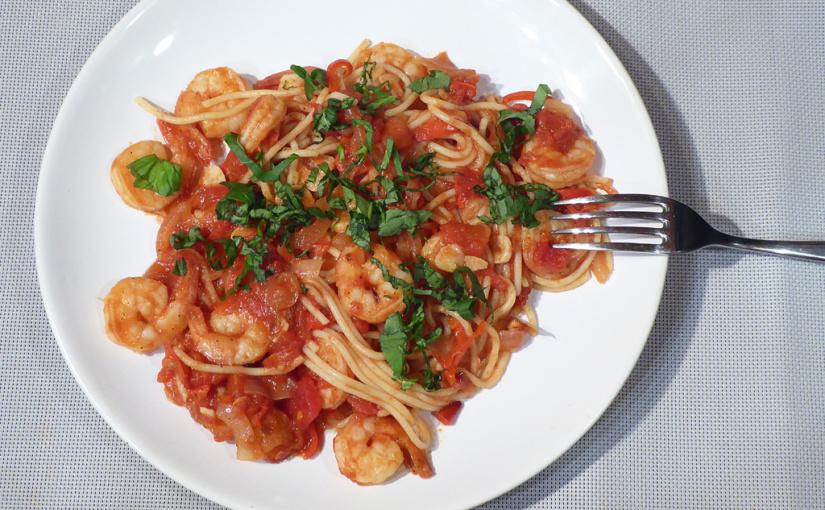 Chilli krevety vtomatové omáčce | Špagety nemohou chybět