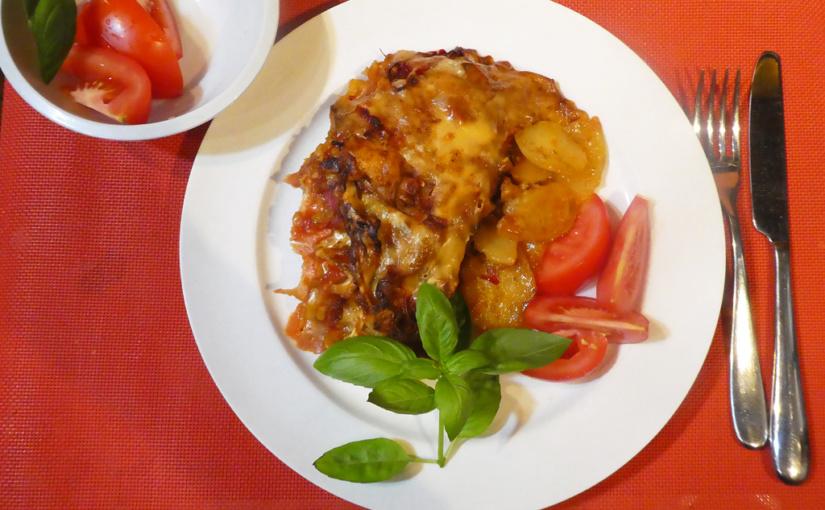 Krkovička slečem / Zapečená na bramborách